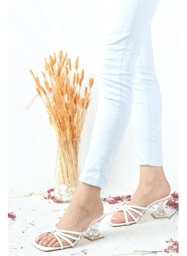 Modabuymus Modabuymus Şeffaf Kadeh Topuklu İnce Bantlı  Kadın Terlik - Troy Beyaz